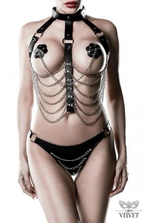 Harnais faux cuir et chaines 3 pièces - Grey Velvet : Ensemble harnais SM & chic comprenant un harnais en chaînes métalliques, 1 paire de caches-tétons et un string.