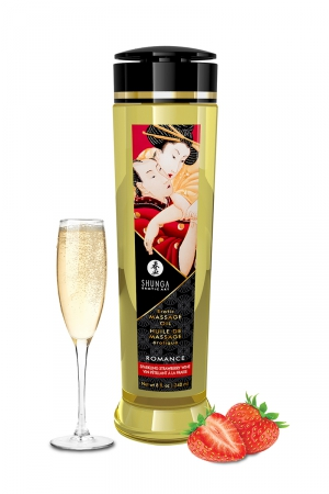 Huile de massage parfum fraise & vin pétillant - Shunga : Huile de massage érotique Romanceau vin pétillant et à la fraise pour éveiller les sens et la réceptivité amoureuse, par Shunga.