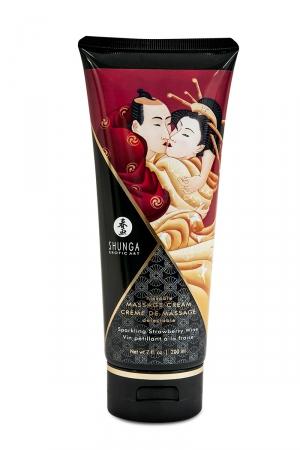 Crème de massage délectable vin pétillant à la fraise -  Shunga : Le plus savoureux des massages avec la crème de massage comestible Shunga saveur vin pétillant à la fraise.