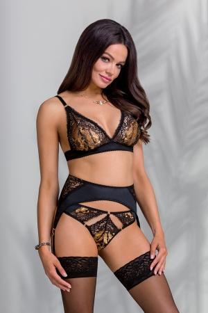 Ensemble lingerie jarretelles Divine : Ensemble trois pièces lingerie noir avec un porte-jarretelles original et une magnifique dentelle dorée.