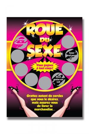 Carte à gratter roue du sexe : 9 cases à gratter contenant chacune 1 action coquine à réaliser impérativement ! Vous gagnez à tous les coups !