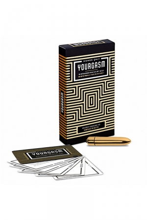 Jeu Yourgasm pour femmes : 50 cartes défi et un sextoy vibrant pour la pratique du plaisir féminin en solitaire et booster votre sexualité.