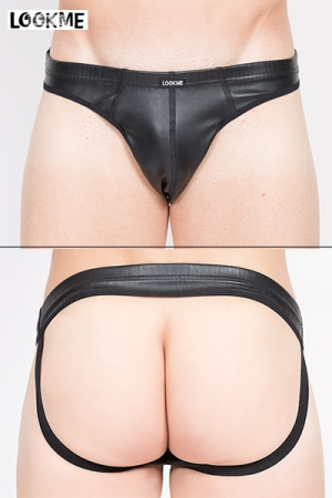 Jock Risk : Jpck strap aspect faux cuir, très sexy avec ses larges élastiques qui soulignent les fesses.