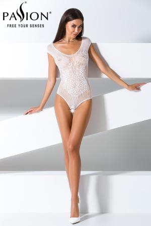 Body ouvert BS064 - Blanc : Body ouvert en résille blanche transparente.