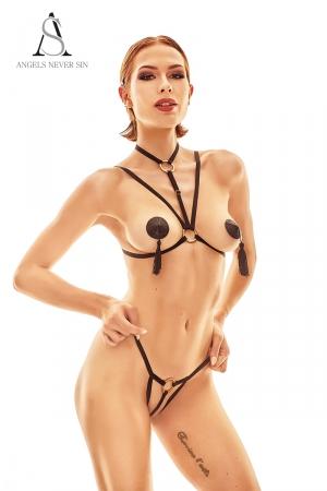 Harnais lingerie Delici - Angels Never Sin : Ensemble deux pièces top seins nus avec collier intégré et culotte fendue harnais.