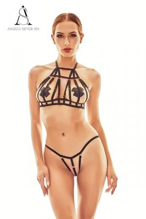Harnais lingerie Zesti - Angels Never Sin : Ensemble sexy harnais lingerie avec un top seins nus très structuré et une culotte ouverte.