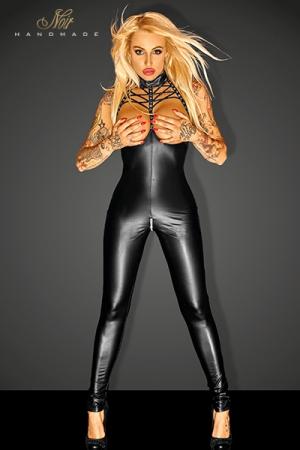 Combinaison Swagger : Combinaison seins nus au décolleté lacé très fetish, avec un zip argent à l'entre-jambes.