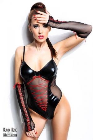 Body Evelyne - Black Rose : Body sexy en voile et wetlook, avec ses mitaines longues.