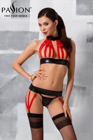 Ensemble lingerie Aziza : Ensemble trois pièces lingerie fantaisie wetlook mat effet faux cuir.