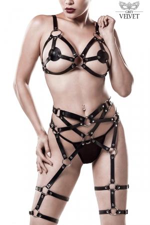 Harnais faux cuir 3 pièces - Grey Velvet : Adoptez un look SM chic avec ce superbe ensemble lingerie harnais sexy en faux cuir.