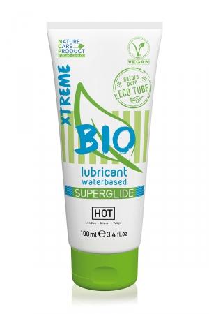 Lubrifiant HOT BIO Superglide Xtreme 100 ml  : Lubrifiant intime médical, biologique et végan, à base d'eau, avec effet relaxant et lubrification spéciale conditions extrêmes.