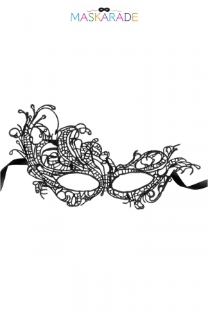 Loup broderie souple Aurore : Masque noir en dentelle brodée souple avec une forme asymétrique, pour jouer à être quelqu'un d'autre, par Maskarade.