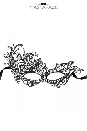 Loup broderie souple Miss Saigon : Masque noir en dentelle brodée souple avec une forme asymétrique, pour jouer à être quelqu'un d'autre, par Maskarade.