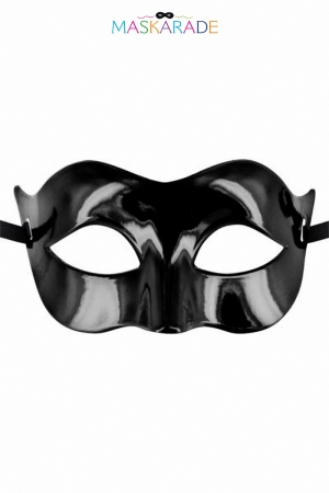 Masque Solomon - Maskarade : Loup noir sobre et classe en plastique laqué pour vos soirée libertines.