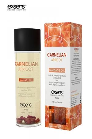 Huile massage BIO Cornaline Abricot - Exsens : huile de massage dynamisante certifiée Bio à la Cornaline et à l'huile d'Abricot, par Exsens.