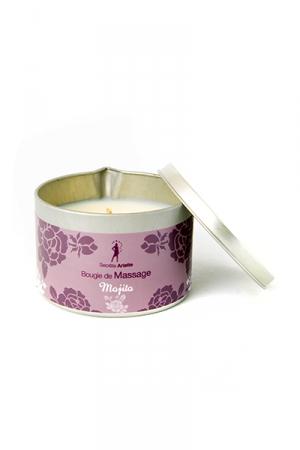 Bougie de massage Mojito : Bougie de massage parfum Mojito fabriquée en France pour des moments sensuels.