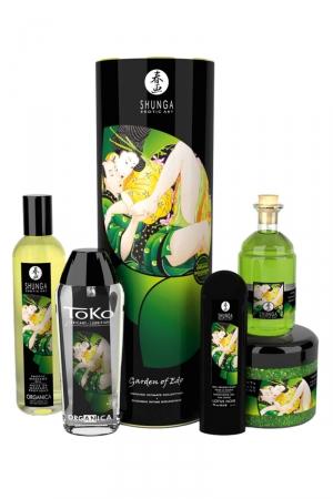 Coffret intime BIO Jardin d'Edo - Shunga : Coffret Shunga plaisirs intimes bio et aphrodisiaque avec huiles de massage et lubrifiant.