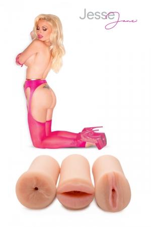 Pack masturbateurs 3 orifices Jesse Jane : Pack de 3 masturbateurs 3D réalistes reproduisant fidèlement l'intimité de Jesse Jane (vagin, anus et bouche).