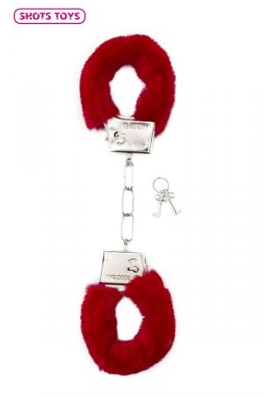 Menottes fourrure Shots - rouge : Paire de menottes fantaisie qui ferment comme des vraies pour jouer à s'attacher. En métal et fausse fourrure rouge.