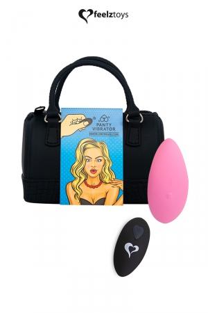 Stimulateur télécommandé Panty Vibe rose - FeelzToys : Présenté dans un superbe mini sac à main, Feelztoys vous propose un stimulateur clitoridien télécommandé très puissant.