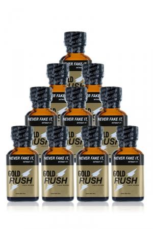 Pack 10 poppers Gold Rush 24 ml : Pack de 10 Flacons de 24 ml de Poppers Gold Rush, arôme liquide érotique à base de Nitrite de Pentyle.