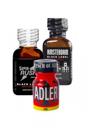 Pack Expert 3 poppers Amyle : Pack Expert de 3 poppers à l'Amyle:  Adler 9ml, Amsterdam Black Label 24ml et Super Rush Black Label 24ml.