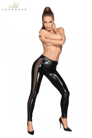 Leggins vinyle F202 : Ce leggins en vinyle et tulle très moulant est une deuxième peau brillante sur vos jambes.