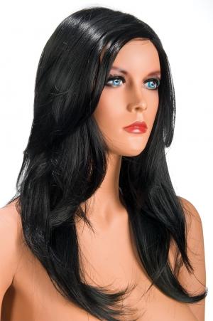 Perruque Olivia brune : Perruque brune aux cheveux longs ayants un aspect naturel. Elle tombe à merveille sur les épaules.