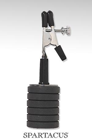 Pince lestée (poids magnétiques) : Pince aligator ajustable lestée de 6 poids magnétiques de 15 g (total = 90 g).
