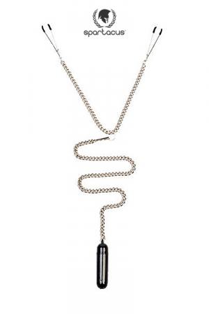 Parure BDSM Tweezer Clamps + bullet vibrant : Une chainette BDSM avec pinces tétons et vibro bullet pour un mélange piquant de sensations.