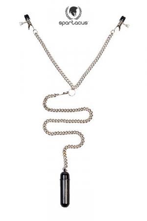 Parure BDSM Broad tip Clamp + bullet vibrant : Chainette Fetish-SM avec pinces tétons (modèle Broad Tip)et mini vibro pour un mélange explosif de sensations.