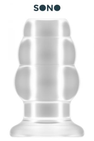 Plug anal creux taille L - SONO : Plug anal translucide grande taille, creux au milieu, 12,7 cm de long par 7,1 cm de diamètre maxi.