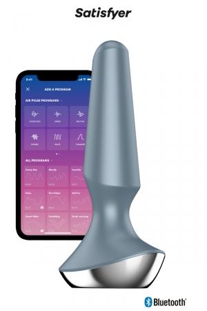 Plug-Ilicious 2 Gris - Satisfyer : vibro anal connecté en silicone, 2 moteurs puissants, rechargeable et étanche, pour hommes et femmes.
