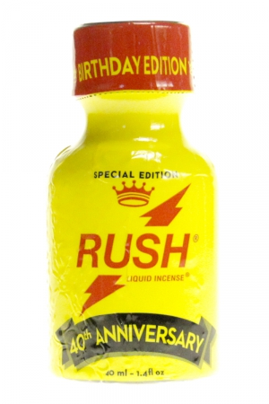 Poppers Rush Anniversary  40 ml : L'incontournable Poppers rush fête son anniversaire avec une édition limitée de 40 ml.