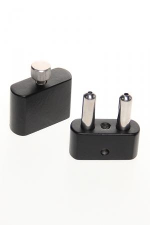 Double inhalateur à poppers : Inhalateur en acier noir et argent avec 2 cylindres pour stocker le poppers et cordelette tour de cou en cuir.