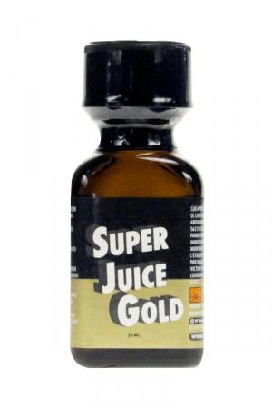 Poppers Super Juice gold 24ml : Le poppers Super Juice gold est un arôme puissant et fort à base de nitrite de Pentyle, en grand flacon de 24 ml.