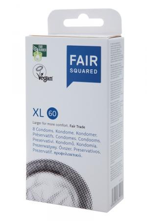 8 préservatifs Fair Squared XL 60 : 8 préservatifs Vegan Extra large, en latex, commercialisés selon les standards du commerce équitable.