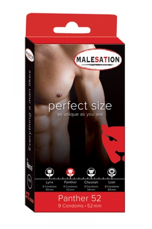 9 Préservatifs Perfect Size Panther 52 : Avec Perfect size Panther de 52 mm de diamètre, choisissez des préservatifs parfaitement ajustés à votre taille.