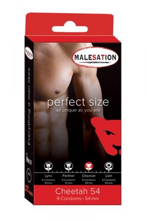 9 Préservatifs Perfect Size Cheetah 54 : Avec Perfect size Cheetah de 54 mm de diamètre, choisissez des préservatifs parfaitement ajustés à votre taille.