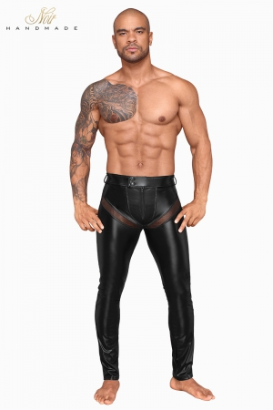Pantalon wetlook et filet H059 : Pantalon moulant en powerwetlook mat et empiècements transparents de filet 3D, tout cela ultra sexy !