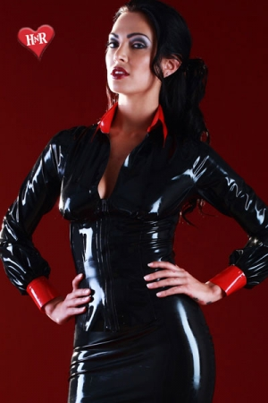 Chemisier latex Disciplinarian : Chemisier vintage en latex skin Two haute qualité, osez un look strict, mais toujours provocant.