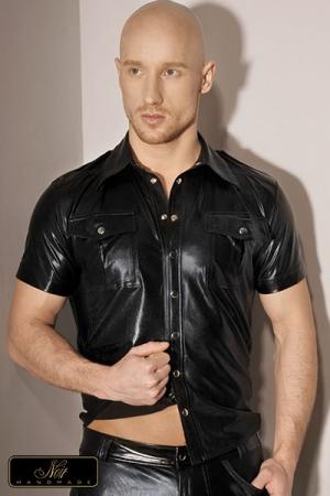 Chemisette Sacha : Chemise à manches courtes style army en wetlook mat, tout le charme réside dans les détails...