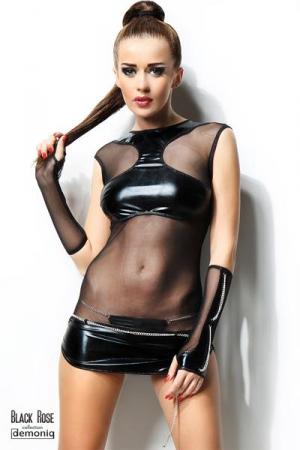 Robe Anette - Black Rose : Robe sexy en voile et wetlook brillant décorée de chaînes, avec string et mitaines.