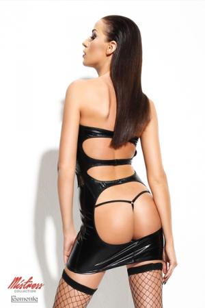 Robe Dagmar - Mistress Collection : Robe sexy fetish wetlook et sa paire de bas en résille auto-fixants.
