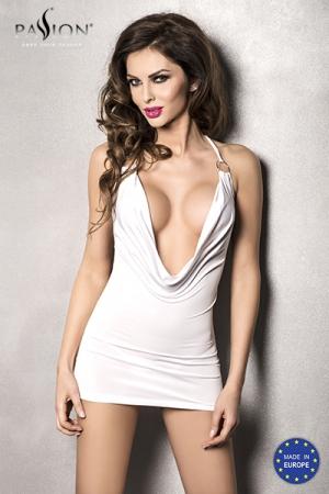 Robe Miracle - Blanc : Robe courte moulante blanche, avec un profond décolleté sur la poitrine.