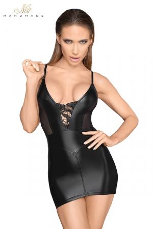 Mini robe wetlook à bretelles F205 : Une petite robe noire très moulante, ornée de dentelle brodée de paillettes, et d'empiècements de tulle.