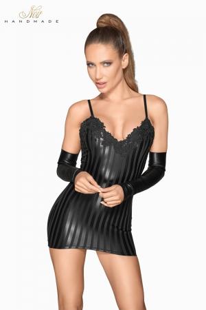 Mini robe wetlook à rayures F208 : Changez pour une robe très courte en wetlook rayé, qui vous va comme un gant !