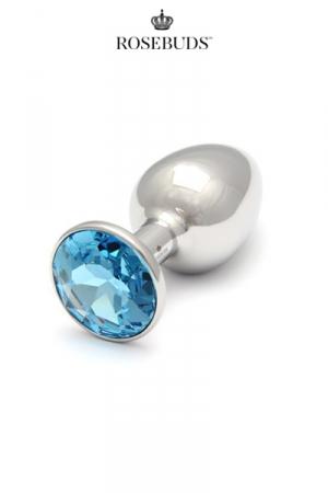Rosebuds cristal medium aquamarine : Le plus connu des rosebuds dans sa taille classique, avec un bijou en cristal Swarovski  coloris aquamarine.