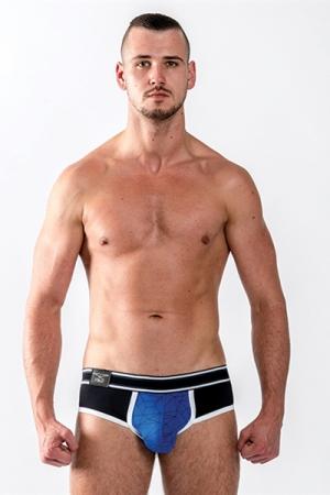 Slip Mister B URBAN Castro bleu : Brief Mister B, collection Urban, top confort, avec une pochette pour mettre en valeur vos atouts masculins.