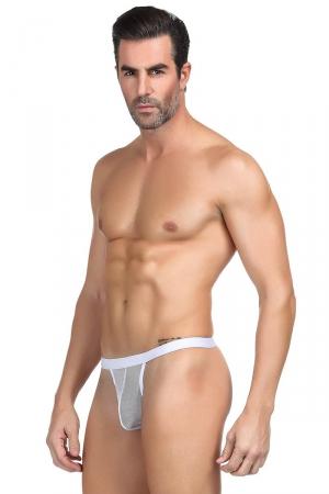 String homme blanc résille : String blanc ultra sexy, laissant apparaitre l'anatomie intime, par Paris Hollywood.